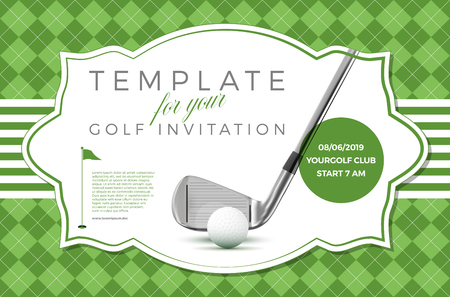Illustration pour Template for your golf invitation with sample text in separate layer- vector illustration - image libre de droit