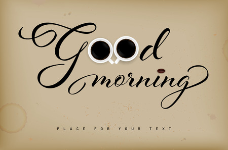 Illustration pour Inscription Good morning on retro grungy background, cups of coffee and copy space for your text - vector illustration - image libre de droit