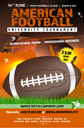 Illustration for American football tournament poster template with ball, grass and sample text in separate layer - vector illustration - Royalty Free Image