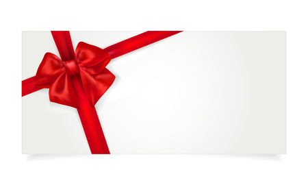 Illustration pour Paper gift voucher with red bow and shadow - isolated on white. Copy space for your text. Vector illustration. - image libre de droit