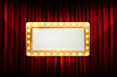 Illustration for Empty golden frame with light bulbs on red curtain - place for your text. Vector illustration. - Royalty Free Image