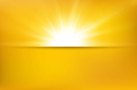 Illustration for Abstract summer yellow background with sun beams, shadow divider line and copy space for your text - vector illustration - Royalty Free Image