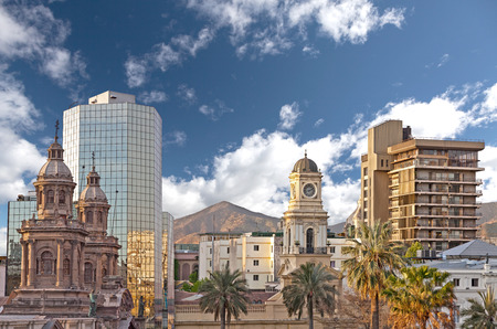 Santiago de Chile downtown, modern skyscrapers mixed with historic buildings, Chile