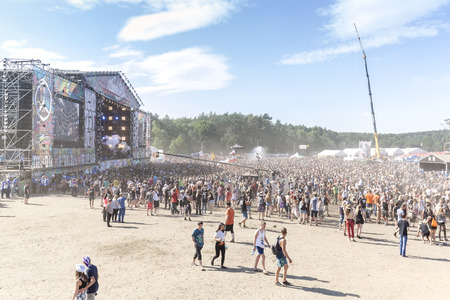 Kostrzyn nad Odra, Poland - August 1, 2015: Main stage of the 21th Woodstock Festival Poland (Przystanek Woodstock), one of the biggest ticket free rock music festivals in Europe.