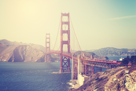 Vintage toned picture of the Golden Gate Bridge in San Francisco, USA.