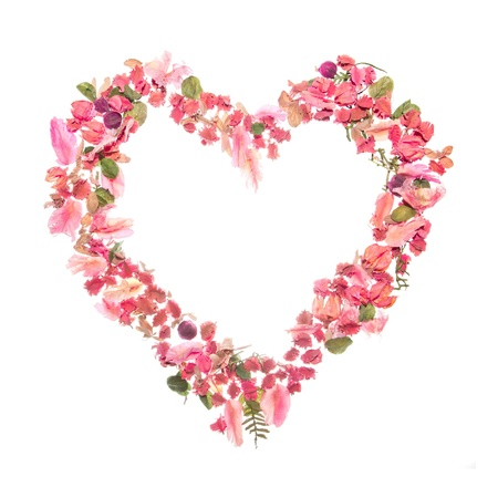 Beautiful heart of dry rose petals isolated on white