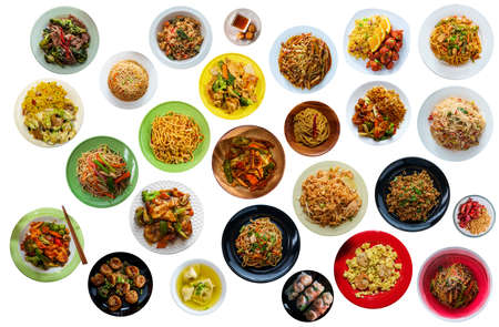 Photo pour Flat lay collage of many popular chinese food dinners isolated on white background - image libre de droit