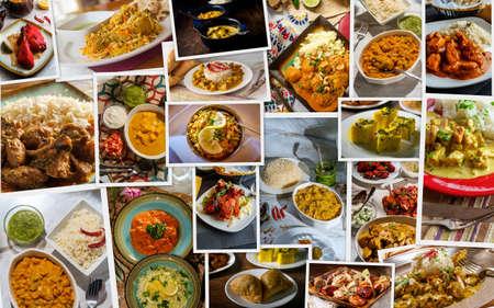 Photo pour Traditional Indian foods arranged as collage of the cuisine - image libre de droit