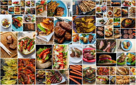Photo pour Collage of popular American BBQ and grilled food including burgers hot dogs sausage steak and even seafood - image libre de droit