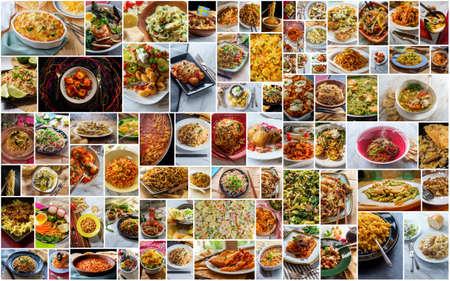 Photo pour Huge world cuisine pasta and noodle collage background - image libre de droit