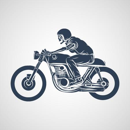Illustration pour skull ride a classic cafe racer motorcycle - image libre de droit