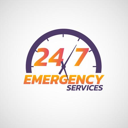 Ilustración de 24/7 emergency services  icon. Vector illustration - Imagen libre de derechos
