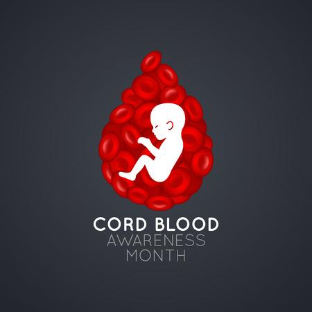 Illustration pour Cord Blood Awareness Month   icon illustration - image libre de droit