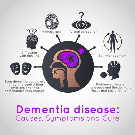 Illustration pour Dementia infographic icon design, medical vector illustration - image libre de droit