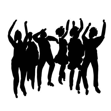 Illustration pour Vector - hand drawn watercolor illustration. Dancing people. People shaped watercolor stains - image libre de droit