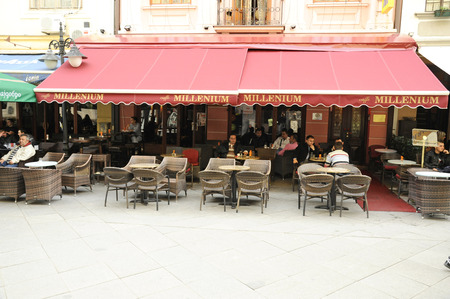 BITOLA, MACEDONIA, MAY 19, 2011  The front faced of the luxury Miellenium hotel Bitola, Macedonia, on May 19th, 2011
