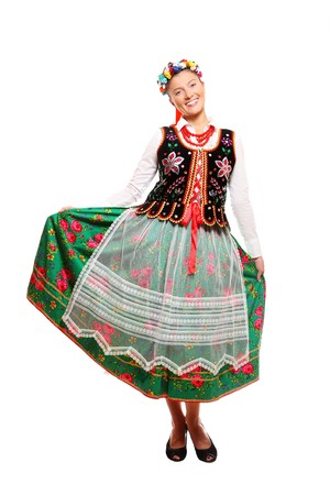 A portrait of a Polish woman in traditional outfit over white background