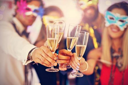 Photo pour Picture showing group of friends having fun with at Party - image libre de droit