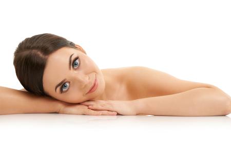 Photo pour Beautiful woman face close up studio on white - image libre de droit