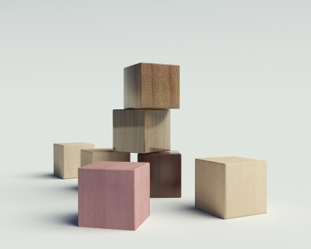 wooden blocks on a white background
