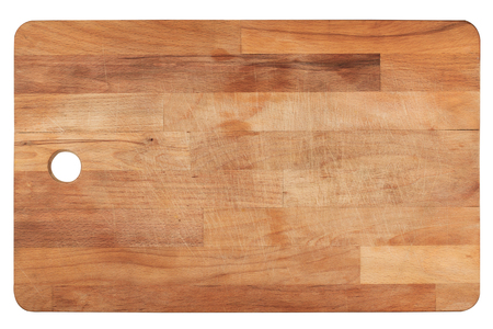 Photo for top view closeup of used wooden kitchen cutting woodboard isolated on white background - Royalty Free Image