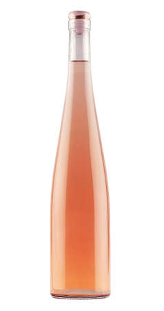 Photo pour front view of long flute rose wine bottle with no label and glass cover cap isolated on white background - image libre de droit