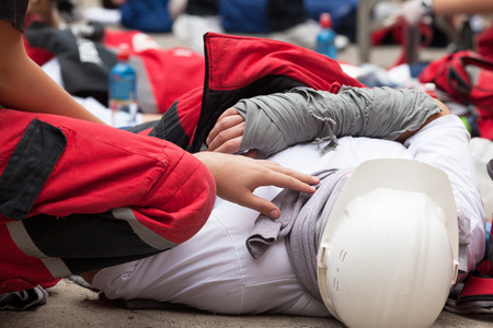 Photo for Work accident. First aid training. - Royalty Free Image