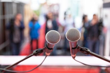 Photo pour Press conference. Public relations - PR. - image libre de droit
