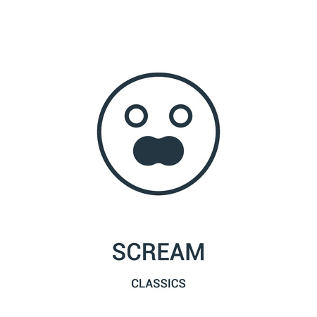 Illustration pour scream icon isolated on white background from classics collection. - image libre de droit