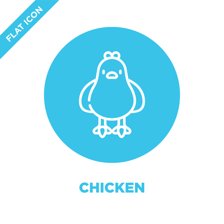 chicken icon vector. Thin line chicken outline icon vector illustration.chicken symbol for use on web and mobile apps, print media.