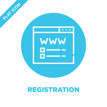 registration icon vector. Thin line registration outline icon vector illustration.registration symbol for use on web and mobile apps, print media.