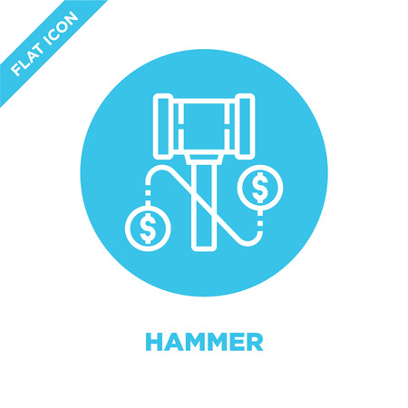 hammer icon vector from corruption elements collection. Thin line hammer outline icon vector  illustration. Linear symbol for use on web and mobile apps, logo, print media.