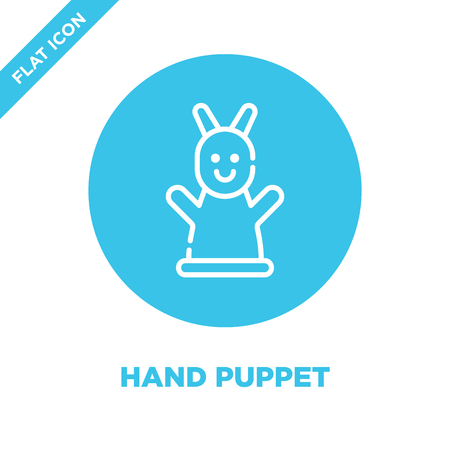 hand puppet icon vector from baby toys collection. Thin line hand puppet outline icon vector  illustration. Linear symbol for use on web and mobile apps, logo, print media.