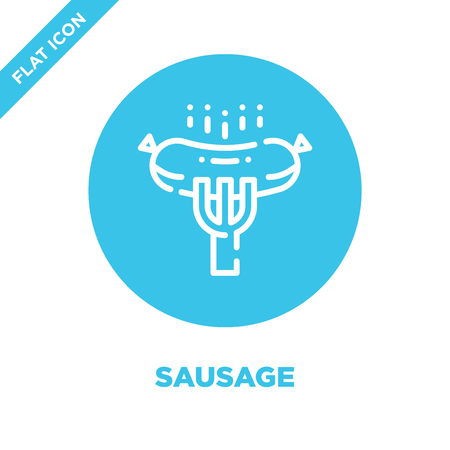 sausage icon vector from camping collection. Thin line sausage outline icon vector  illustration. Linear symbol for use on web and mobile apps, logo, print media.