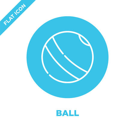 ball icon vector from baby toys collection. Thin line ball outline icon vector  illustration. Linear symbol for use on web and mobile apps, logo, print media.