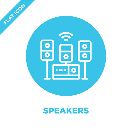 speakers icon vector from furnitures collection. Thin line speakers outline icon vector  illustration. Linear symbol for use on web and mobile apps, logo, print media.