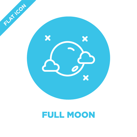 full moon icon vector from weather collection. Thin line full moon outline icon vector  illustration. Linear symbol for use on web and mobile apps, logo, print media.