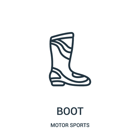 boot icon vector from motor sports collection. Thin line boot outline icon vector illustration. Linear symbol for use on web and mobile apps, logo, print media.