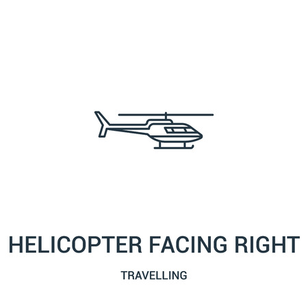 helicopter facing right icon vector from travelling collection. Thin line helicopter facing right outline icon vector illustration. Linear symbol for use on web and mobile apps, logo, print media.
