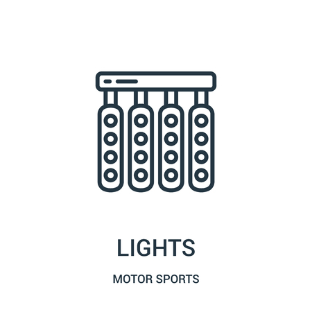 lights icon vector from motor sports collection. Thin line lights outline icon vector illustration. Linear symbol for use on web and mobile apps, logo, print media.