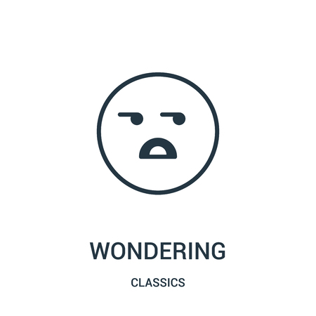 wondering icon vector from classics collection. Thin line wondering outline icon vector illustration. Linear symbol for use on web and mobile apps, logo, print media.