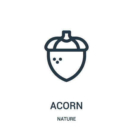 Illustration pour acorn icon vector from nature collection. Thin line acorn outline icon vector illustration. Linear symbol for use on web and mobile apps, logo, print media. - image libre de droit