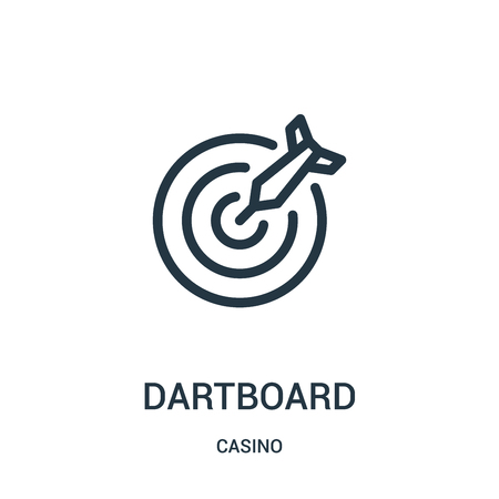 Illustration pour dartboard icon vector from casino collection. Thin line dartboard outline icon vector illustration. Linear symbol for use on web and mobile apps, logo, print media. - image libre de droit