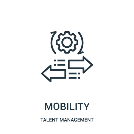 Illustration pour mobility icon vector from talent management collection. Thin line mobility outline icon vector illustration. Linear symbol for use on web and mobile apps, logo, print media. - image libre de droit