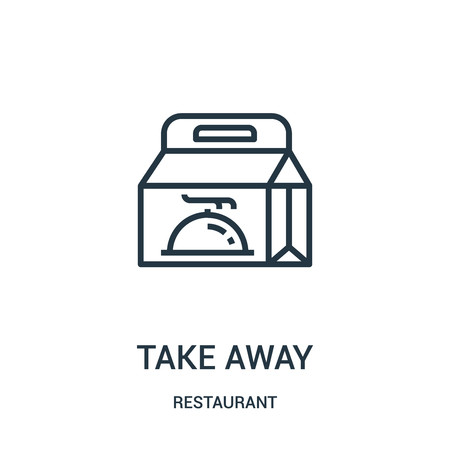 Illustration pour take away icon vector from restaurant collection. Thin line take away outline icon vector illustration. Linear symbol for use on web and mobile apps, logo, print media. - image libre de droit