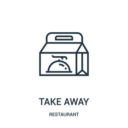 Ilustración de take away icon vector from restaurant collection. Thin line take away outline icon vector illustration. Linear symbol for use on web and mobile apps, logo, print media. - Imagen libre de derechos