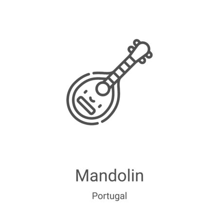 mandolin icon vector from portugal collection. Thin line mandolin outline icon vector illustration. Linear symbol for use on web and mobile apps, logo, print media