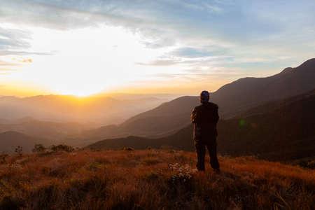 Foto für Unrecognized people enjoying the mountain landscape view from a mountain - Lizenzfreies Bild