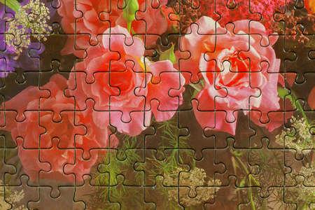 Foto de Assembled puzzle colored pieces - Imagen libre de derechos