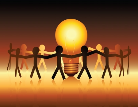 Illustration for A conceptual illustration of a team of paper people uniting around a brightly lit light bulb - Royalty Free Image